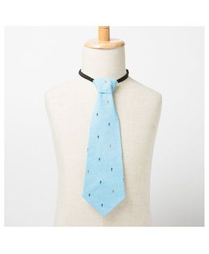 Brown Bows Printed Tie - Light Blue