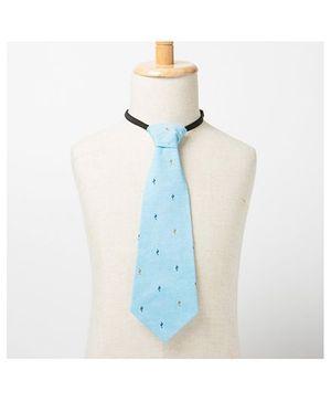 Brown Bows Printed Tie - Light Blue
