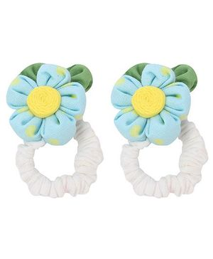 De Berry Polka Dot Flower Rubber Band - Blue