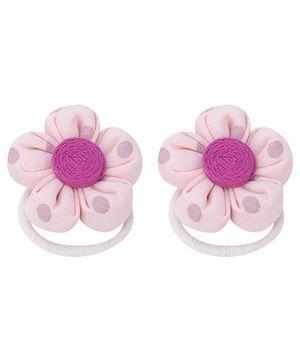 De Berry Polka Dot Flower Rubber Band - Light Pink