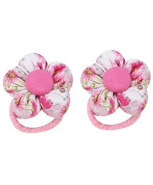 De Berry Flower Print Rubber Band - Light Pink