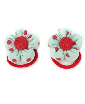 De Berry Dot Print Flower Rubber Band - Green
