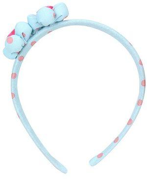 De Berry Twin Flower Design Dot Print Hairband - Blue
