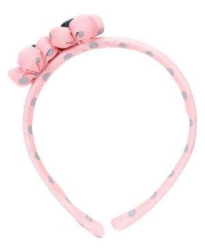 De Berry Twin Flower Design Dot Print Hairband - Pink