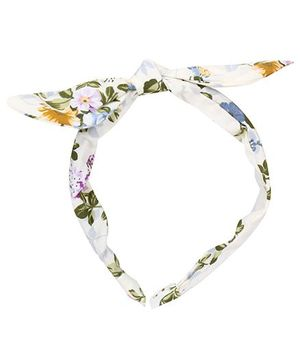 De Berry Leaf & Flower Print Hairband - Green