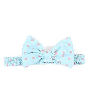 De Berry Polka Dot Bow Headband - Blue