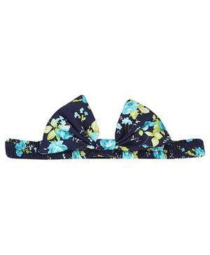 De Berry Floral Print Bow Headband - Navy Blue