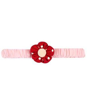 De Berry Dot print Flower Headband - Pink & Red
