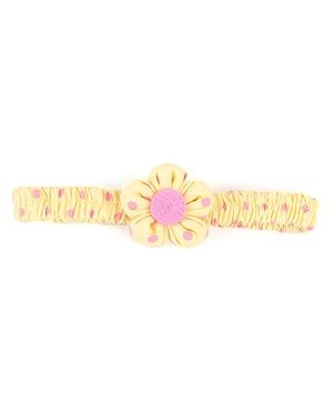 De Berry Dot Print Headband With Flower - Pink & Yellow