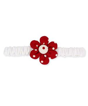De Berry Dot Print Flower Headband - White & Maroon