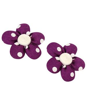De Berry Dot Print Flower Hair Clip - Purple
