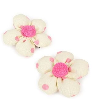 De Berry Dot Print Flower Hair Clip - Light Yellow