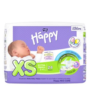 Bella Baby Happy Diapers Extra Small - 24 Pieces