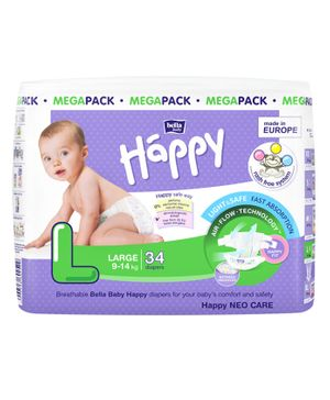 Bella Baby Happy Diapers Large - 34 Pieces