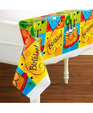Planet Jashn Plastic Table Cover With Border Print - White and Multi color