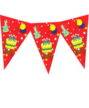 Planet Jashn Buntings Birthday Cake Print - Red