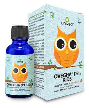 Unived Ovegha D3 Kids 200mg DHA & 500 IU D3 Orange Flavour - 20 ml