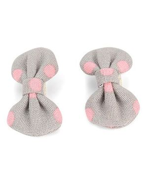 De Berry Dot Print Hair Clip - Grey