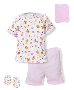 Babyhug Clothing Gift Set Animal Print Pack of 4 - Pink