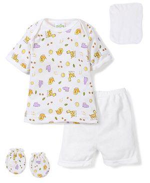 Babyhug Clothing Gift Set Animal Print Pack of 4 - White