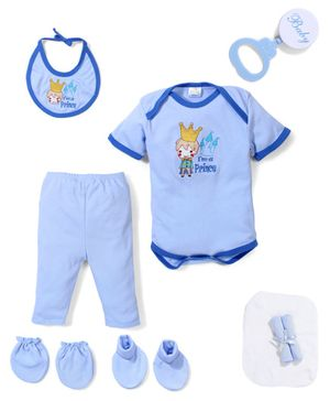 Babyhug Clothing Gift Set Prince Embrodiery Pack of 9 - Blue