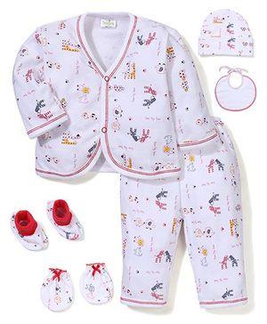 Babyhug Clothing Gift Set Animal Print Pack of 6 - White