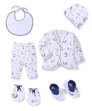 Babyhug Clothing Gift Set Animal Print Pack of 6 - White