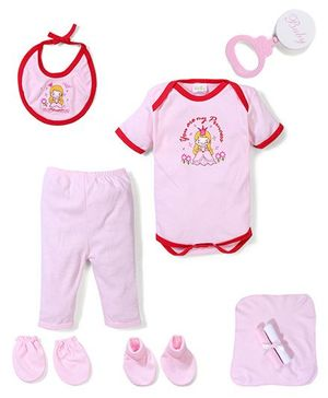 Babyhug Clothing Gift Set Princess Embrodiery Pack of 9 - Pink