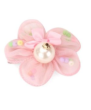 Angel Closet Flower Clip With Ribbon And Pearls - Pink