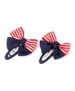 Angel Closet Striped Bow Hair Clips 1 Pair - Red And Blue