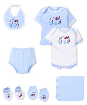 Babyhug Clothing Gift Set Aeroplane Print Pack of 7 - Blue White