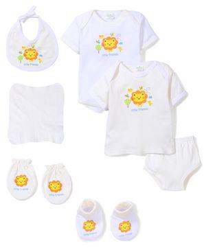 Babyhug Clothing Gift Set Lion Print Pack of 7 - White
