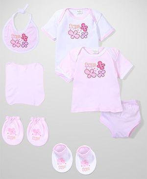 Babyhug Floral Print Baby Gift Set - Pink