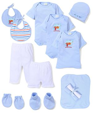 Babyhug My Best Friend Print Baby Gift Set - Blue