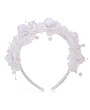 Anaira Hair Band Princess Rose N Pearl - White