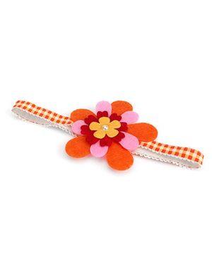 Milonee Checkered Headband With Flower - Orange
