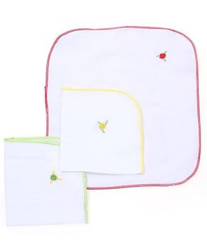 Chocopie Napkin Floral Embroidery Set of 3 - Multi Color