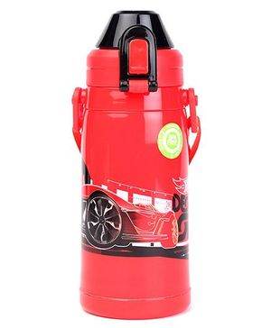 Hotwheels Double Walled Water Bottle With Lock Button Red - 400 ml