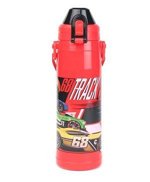 Hotwheels Track Print Double Walled Water Bottle Red - 600 ml