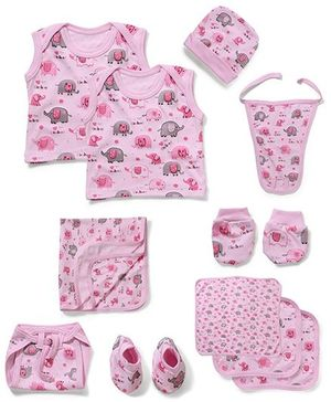 Babyhug Infant Clothing Set Pink - 10 Pieces