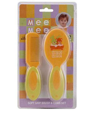 Mee Mee Soft Grip Brush & Comb Set - Orange & Green