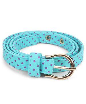 De Berry Dot Print Belt - Aqua Blue