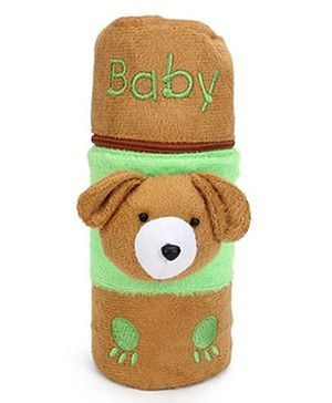 Babyhug Bottle Cover With Zipper & Puppy Motif Large - Brown
