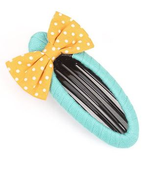 Clip Case Snap Clip With Bow - Blue & Yellow