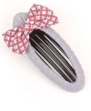 Clip Case Snap Clip With Bow - Grey & Multicolor