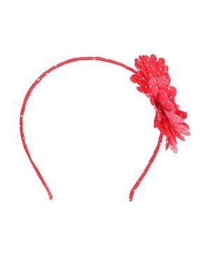 De Berry Dot Print Flower Hair Band - Red