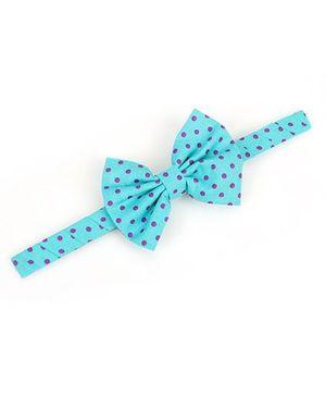 De Berry Dot Print Bow Hair Band - Blue