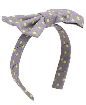 De Berry Dot Print Bow Hair Band - Grey