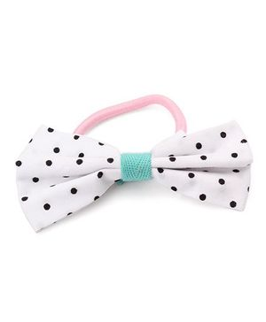 Clip Case Printed Bow Rubber Band - White