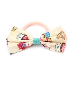 Clip Case Printed Bow Rubber Band - Cream